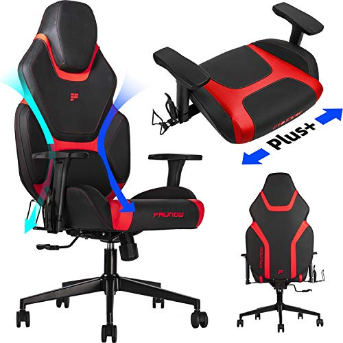 FAUNOW High Back PU Leather Adjustable Swivel Rolling Massage Chair E-Sports Racing Style...