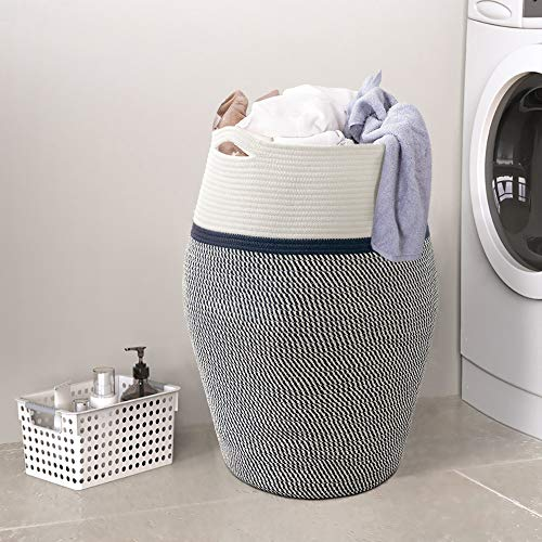 "Goodpick Laundry Hamper | Large Wicker Hamper Dark Blue Woven Basket Neutral Clothes Hamper for Living Room Decorative Modern Curve Storage Bucket 25.6"" Height"