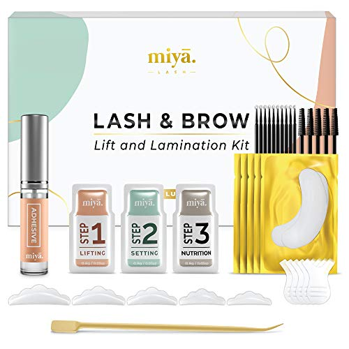 MIYA LASH Professional Lash Lift & Brow Lamination 2 in 1 Kit | Instant Fuller Eyebrows, Eyelashes | Salon Result lasts 6 – 8 weeks | LVL, Perm, Laminate Treatment | with Silicone Shields, Lash Picks