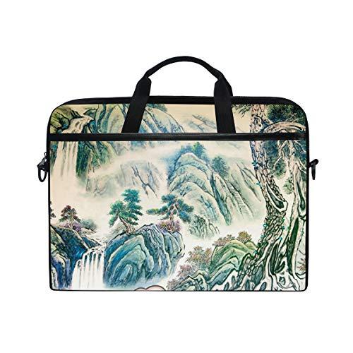 Ahomy 14-14,5 Zoll Laptoptasche, chinesisches Landschaftsbild, Leinenstoff, Laptoptasche, Handtasche mit Schultergurt für Damen und Herren