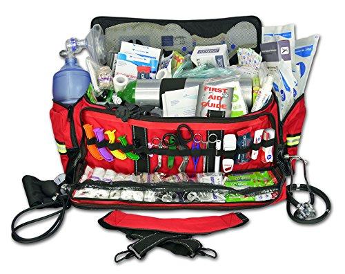Lightning X Jumbo Oxygen Medic First Responder EMT/EMS Bag Stocked Trauma Kit LXMB50-SKD (Red)