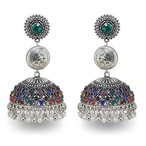 Pendientes vintage de aleación de plata campanas cuentas borla declaración pendientes para las mujeres turcas tribales gitanos indios joyería partido indio pendientes de borla