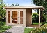 weka Gartenhaus Panorama 172 Gr.1, 21 mm, E-Glastür, 2 FP, Anbau 150 cm