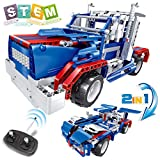 Remote Control Truck Toy for Kids, Semi Truck STEM Toy for Boys & Girls, 2 in 1 RC Car Racer Building Blocks Set, Construction Learning Kit for Kids Age 7-15 Year-Old, Top Birthday Teen Gifts Idea
