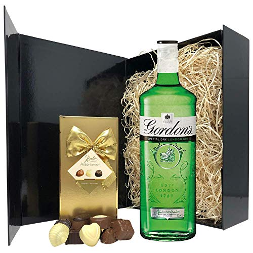 Gin Gift Set - Gin and Chocolates Hamper - 70cl Gordons Gin Gift Sets for Women - Gin Lovers Gifts for Women, Birthday, Christmas, Wedding Anniversary