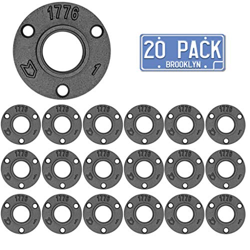 Brooklyn Pipe 20 Pack 1 Inch Floor Flanges | 1 Inch Threaded Flange | Iron Metal Flange | Industrial Pipe Decor | Iron Flange Pipe Fittings (20 Pack)