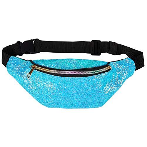 Beinou Glitzer Hüfttasche Bauchtasche Kinder Gürteltasche Leder Paillette Brusttasche Fannie Pack Wasserdicht Sporttasche für Damen Mädchen Frauen Laufen Wandern Party