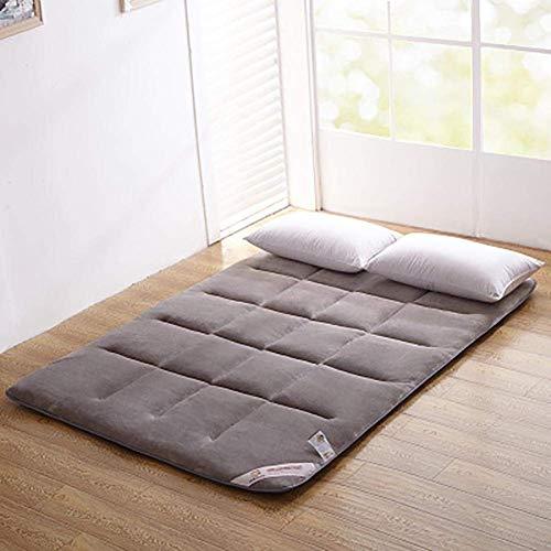 ZLJ Colchón de colchón para Dormir colchón de futón japonés de Franela colchón de Tatami colchón Enrollable Plegable Cama con Ruedas Shikibuton Gris 90x200cm (35x79 Pulgadas)