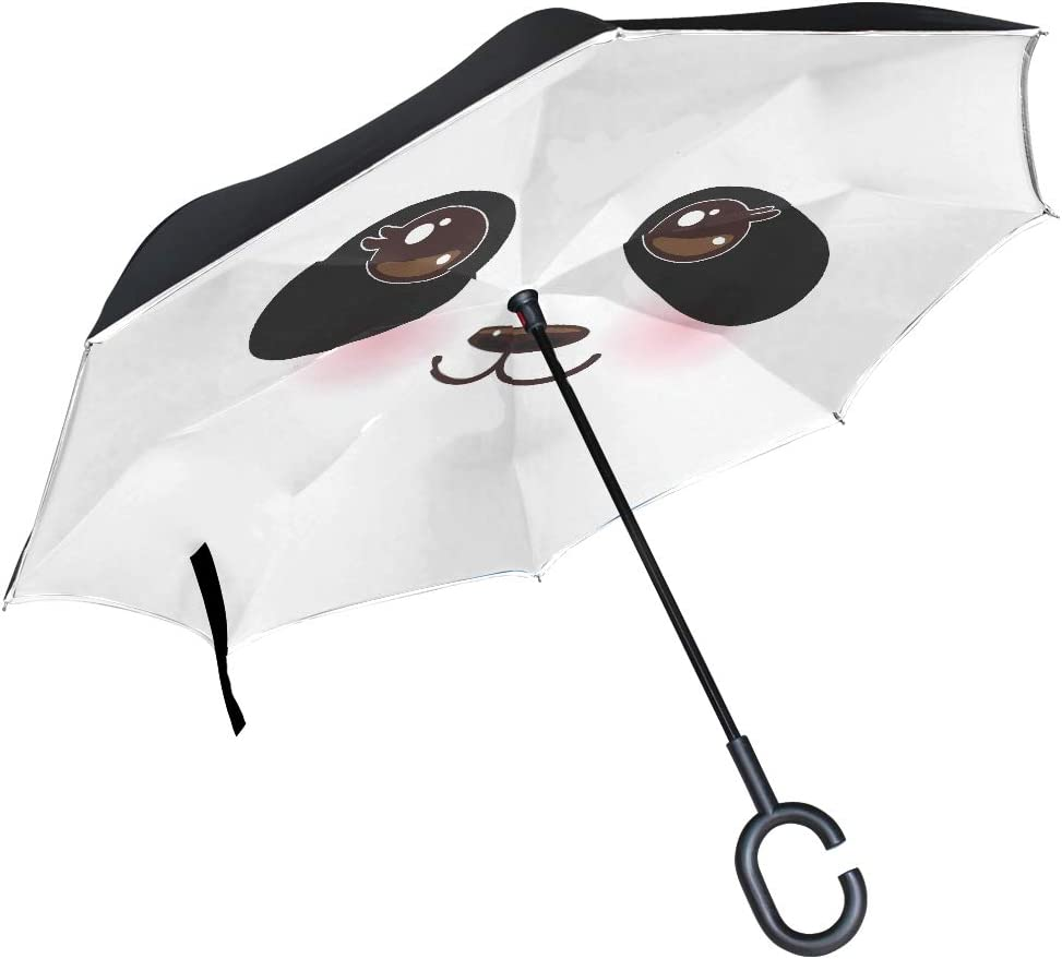 Travel Umbrella Totes Kawaii Funny Max 51% OFF Direct sale of manufacturer Pink White With Panda Muzzle
