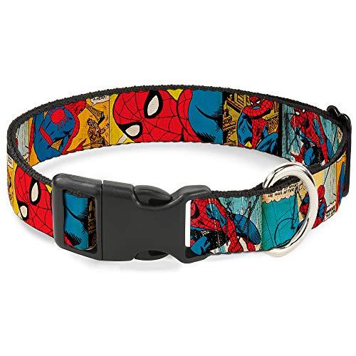 Buckle Down Spider-Man Comic Strip - Collar con Clip de plástico (1/2' x 8-12'/Mediano)