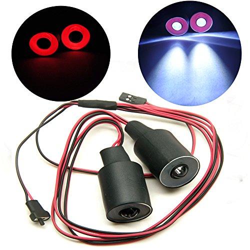 AXspeed 22mm 2 Lights Angel Eyes Light Licht Scheinwerfer / Rücklicht für 1:10 RC Crawler Car (Rot + Weiß)