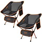 Upgraded 2 Pack Ultralight Portable Camping Folding Chair for Outdoor Beach Hiking Fishing