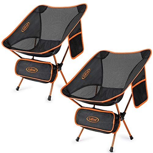 G4Free Upgraded 2 Pack Ultralight Folding Camping Chair, Portable Compact Heavy Duty 240lbs for Outdoor, Camp, Travel, Beach, Picnic, Festival, Hiking, Backpacking (Orange)