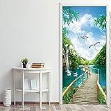 DFKJ Adesivo Verde Paesaggio Naturale Porta Impermeabile Pon