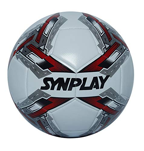 Synplay Machine Stitch Football (Soccer) made with high grade PVC, Size 5 (White & Red)