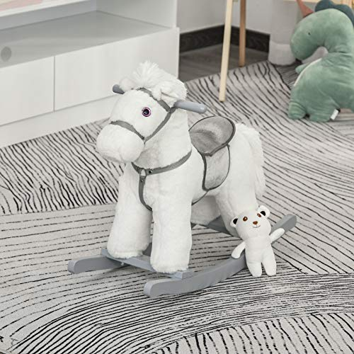 Chic Nice Durable Kids Ride-on Rocking Horse Toy with Realistic Sounds & Teddy Bear, White Accent