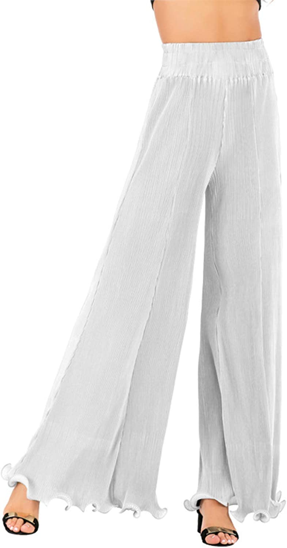 TEWWEY Women's Ruffled Wide Leg Palazzo Pleated High Waist Hem Flowy Pants Trousers