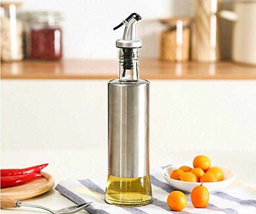 takestop Botella Aceitera vinagrera 350ML 6.7x 25.3cm Aceite Vinagre Acero Cristal con...