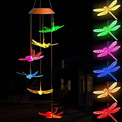ME9UE Crystal Dragonfly Multi Color Changing Wind Chimes, Solar Wind Chimes Outdoor Waterproof Wind Mobile Solar Powered Led for Home, Yard, Night Garden, Party, Festival Decor