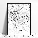linbindeshoop Lleida Toledo Logroño Vigo Murcia Burgos España Lienzo Arte Pintura Mapa Sala de Estar Cocina Cartel (LQ-232) 40x60cm Sin Marco