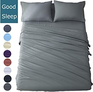 Shilucheng Queen Size Bed Sheets Set Microfiber 1800 Thread Count Percale Egyptian Super Soft and Comforterble 16 Inch Deep Pockets Wrinkle Fade - 4 Piece (Queen,Dark Grey)