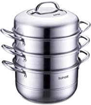 HRXD Steamer 26cm Stainless Steel Three-layer Steamer Can Be Steamed And Boiled, Suitable For Induction Cooker Gas Stove