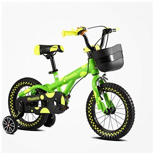 LZY Kinderfahrrad mit Stützrädern, Kinderfahrrad mit schwarzem Korb for Jungen Mädchen, Grün (Größe : 14inch)