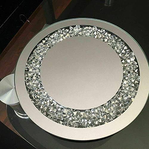 Diamante Mirrored Crystal Candle 25cm Plate Tray Round Tealight Holder Mirror