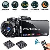FHD Video Camera Recorder, 1080P 30.0 Mega Pixels High Definition Camcorder, 18X Digital Zoom 3.0