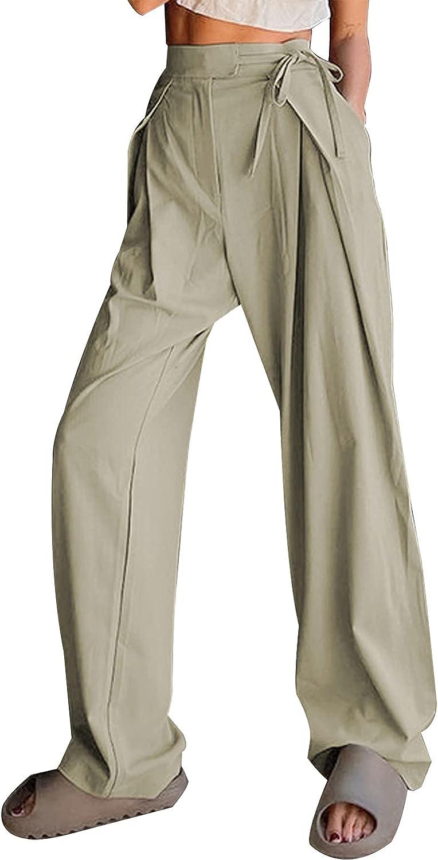 TWFRHC Womens High Waist Wide Leg Pants Casual Loose Dress Pants Drape Waist Tie Work Trousers