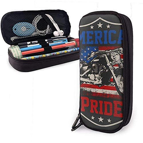 MHKG Ledermäppchen Illustration American Biker Pride with Grunge Style Pencil Case Pencil Bag Makeup Bag Organizer Pen Pouch Holder Box Pen Holder