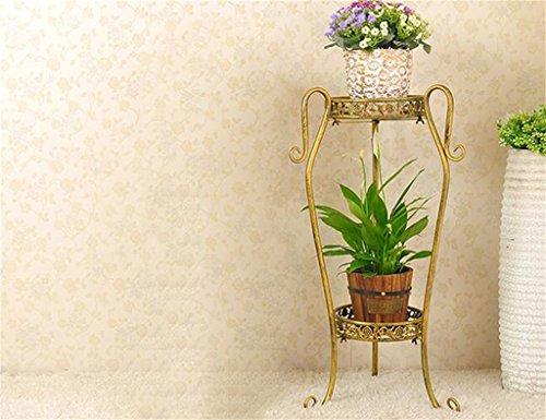 FZN Style européen Fer Fleur étagères à l'intérieur et à l'extérieur Balcon de Salon 2 Couches étagère de Fleurs décoration Assemblage de Fleurs Racks Pots de Fleurs (Couleur : #1, Taille : S)