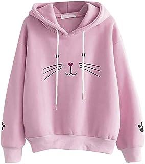 Iuhan Women's Hooded Sweatshirt Teen Girls Pullover Hoodies Fashion Women Top Cat Printing Shirt Long Sleeve Sweater Casual Loose Blouse