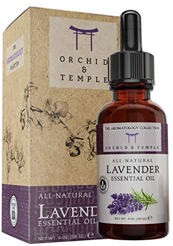Lavender Essential Oil Set. 100% Pure Therapeutic Grade Undiluted. Large 4 oz Bottle with Dropper. Bottled in The USA. for Bath, Diffuser, Misting, Massage, Aromatherapy