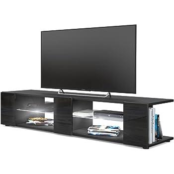 Mesa para TV Lowboard Movie V2, Cuerpo en Negro Mate/Frentes en Negro de Alto Brillo con iluminación LED en Blanco: Vladon: Amazon.es: Hogar