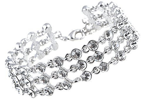 Alilang Womens Elegant Silver Three Tier Crystal Bridal Wedding Prom Fashion Chain Link Bracelet