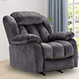 Rocker Recliner Chair, Contemporary Oversized Reclining Chair with Overstuffed Arms and Back, Blue