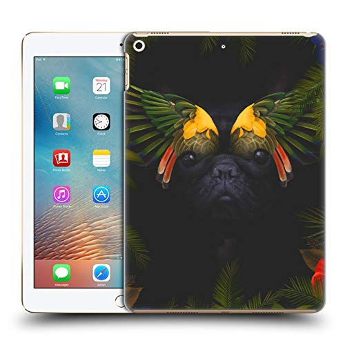 Official Klaudia Senator Bird Feathers French Bulldog 2 Hard Back Case Compatible for Apple iPad 9.7 2017 / iPad 9.7 2018