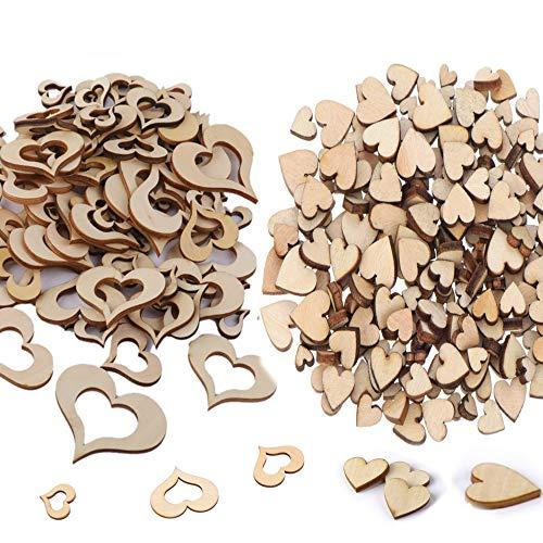 Anyasen Herzen Holz holzherzen klein deko holzherzen holzherzen deko Herz deko Herzen aus Holz 300 STK Herz Holz Scheiben Holzherzen klein Holzanhänger für Tischdeko Streudeko Hochzeit Hochzeitdeko