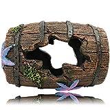 SLOCME Decoraciones de barril roto para acuario – Cave Escondite tronco de madera para tanque de peces