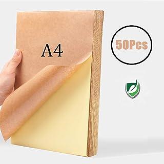 WOWOSS 50 Hojas Papel Kraft Autoadhesivo A4, 80g Etiqueta