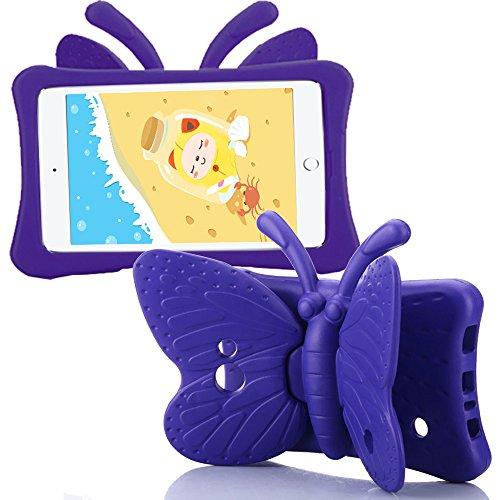 Galaxy 7'' Hülle, Schmetterling Ständer für Kinder, EVA Material Schutzhülle für Samsung Galaxy Tab 4 7.0 SM-T230/T235/T231 & Galaxy Tab 3 Lite 7.0 SM-T110/T111 & Galaxy Tab 3 P3200 / T210, Lila
