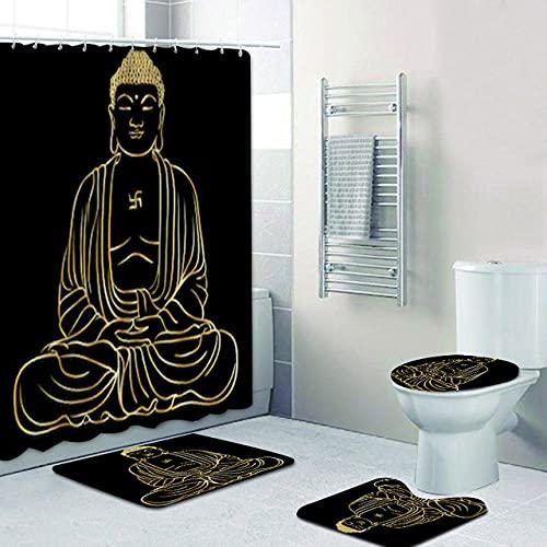 Black Gold Line Art Statua di Buddha Buddismo Religione Bagno Tenda da doccia Bagno Tessuto in...