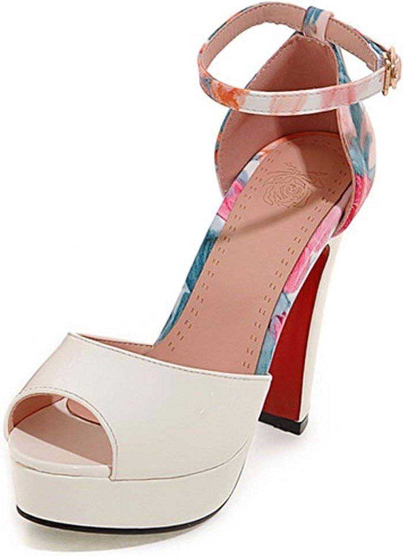 Ghapwe Women's Elegant Print Peep Toe Ankle Strap Chunky High Heel Dress shoes Platform Sandals White 8 M US
