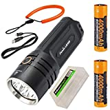 Fenix LR35R 10,000 lumen LED rechargeable tactical flashlight, ALL 01 Lanyard with 2 X Fenix Li-ion rechargeable batteries and EdisonBright battery carrying case bundle
