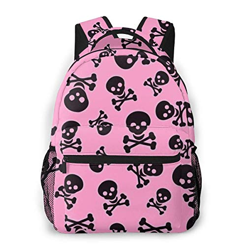 Lawenp Girly Skull Pink Travel Laptop Backpack Business Anti Theft Slim Durable Laptops Backpack Water Resistant College School Computer Bag for Women & Men Fits 15.6 Inch Notebook
