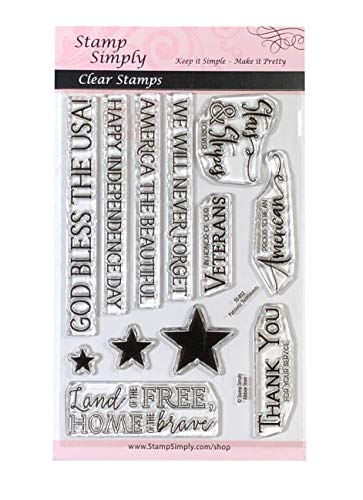 Stamp Simply Clear Stamps Patriotic American Sentiments Veterans, Stars and Stripes and More 4x6...