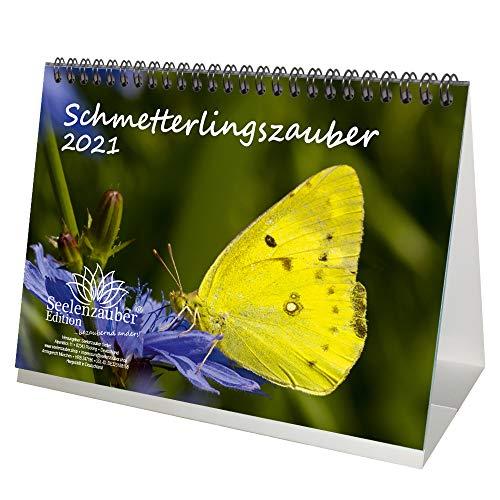 Schmetterlingszauber DIN A5 Tischkalender für 2021 Schmetterling - Geschenkset Inhalt: 1x Kalender, 1x Weihnachtskarte (insgesamt 2 Teile)