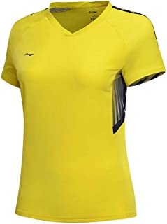 LI-NING at Dry Women Badminton Competition T-Shirts Jerseys National Team Sponsor Breathable Sports Tee Tops AAYN024
