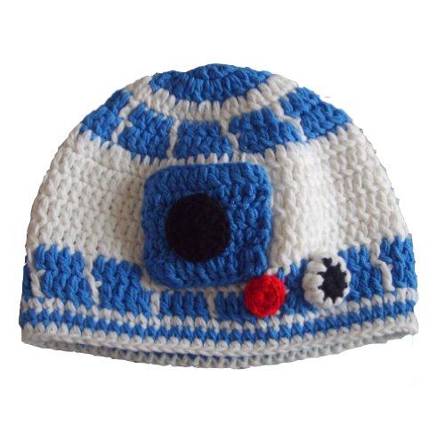 Handmade Milk Protein Cotton Yarn Star Wars Baby R2D2 hat Droid hat in Blue - Multiple (1-3 Year)